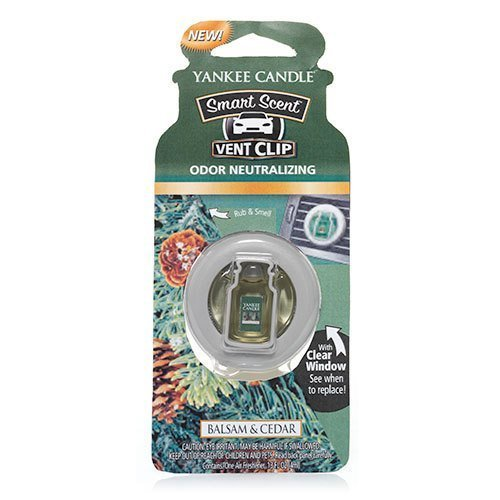Yankee Candle Balsam & Cedar Smart Scent Car Vent Clip Air Freshener, Festive Scent