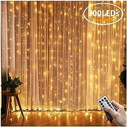 Tenda luminosa, Fenvella 3 * 3 metro 300 Led Luci Stringa IP65 Impermeabile per Decorare Interni ed Esterni, Casa, Balcone, Salotto, Giardino,Terrazza.