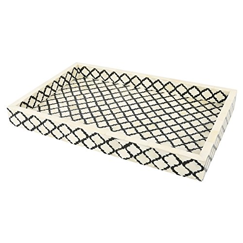 Handicrafts Home Decorative Tray Inspired by Vintage Moorish Moroccan Art Handmade Naturals Bone Inlay Quatrefoil Designer All Purpose Serving Tray, Breakfast, Coffee, Table Top from (Black & White) ()