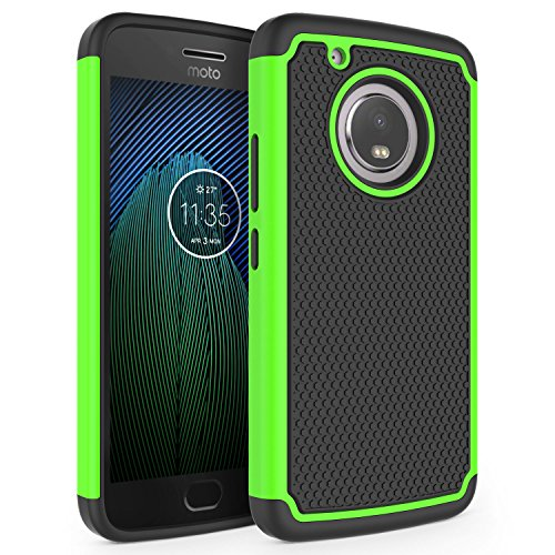 Moto G5 Plus Case, SYONER [Shockproof] Defender Phone Case Cover for Motorola Moto G5 Plus 2017 Released [Green]