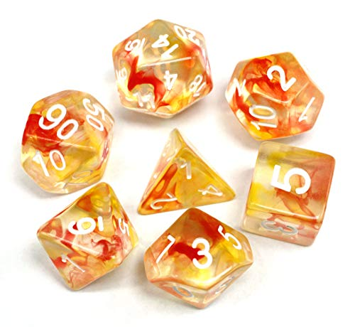 HD Polyhedral Dice DND Game Dice Set for Dungeons and Dragons(D&D) Pathfinder Roleplaying Game RPG MTG Table Game Red & Yellow Transparent Dice Set with Dice Pouch (Transparent Red Dice)