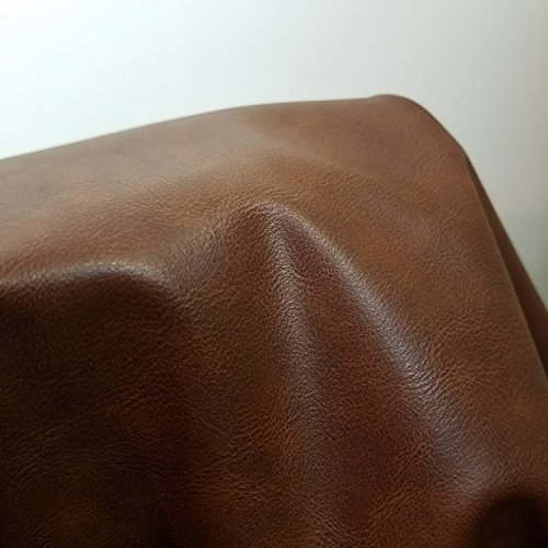 Cognac Two Tone Brown Faux Leather Synthetic Pleather 0.9 mm Madison 1 Yard 52 inch Wide x 36 inch Long Soft Smooth Vinyl Upholstery (Rustic Brown)