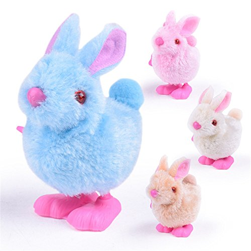 2018 Clockwork Plush Bunny Toys Infant Child Stuffed Toys Hopping Wind Up Collect Easter Gift (Random)