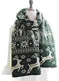 Kennedy Fashion Couple Warm Scarf Christmas Snowflake Elk Knitted Scarf Thicken Wrap Shawl