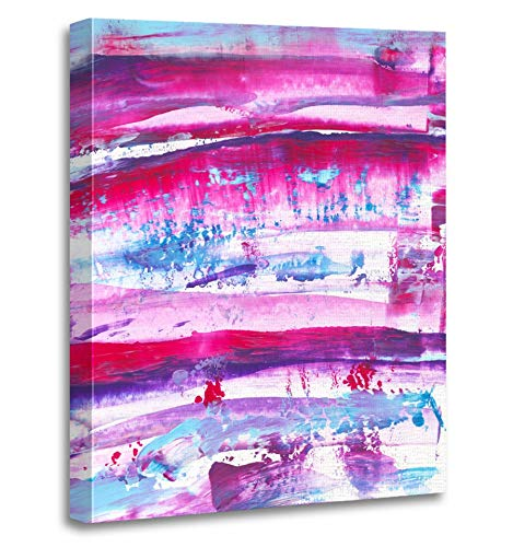 Emvency Painting Canvas Print Artwork Decorative Print Violet Pink Purple Magenta Turquoise Navy Blue Watercolor Hand Paint on White Wooden Frame 24x32 inches Wall Art for Home (Magenta Photographic Dye)