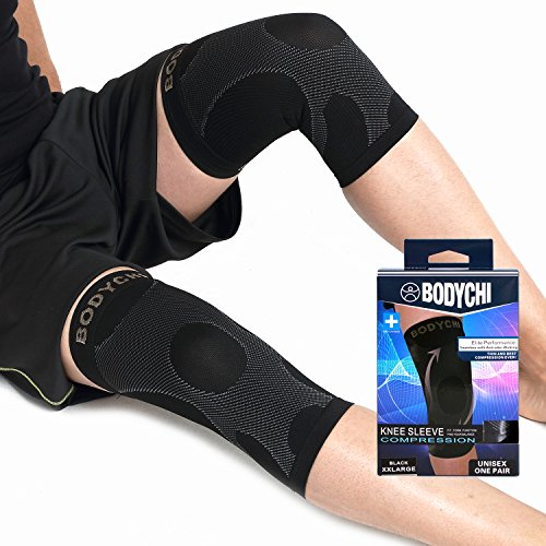 BODYCHI Seamless Knee Brace Compression Support Sleeve Pair, for Joint Protection and Aid for Running, Sports, Pain Relief, 20-30 mmHg, Medium by BODYCHI