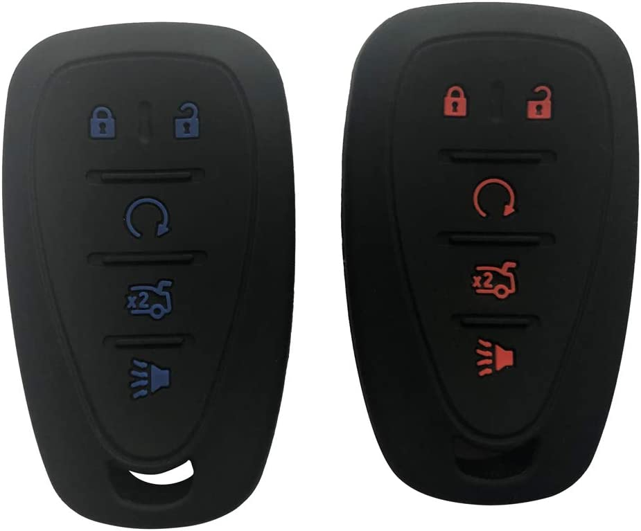 2Pcs Black 2Pcs Silicone Key Fob Cover Case Protector Jacket fit for Chevy Camaro Key fob Chevrolet 2016 2017 Malibu Cruze keyless red Button+Blue Button