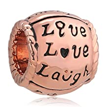 Charmed Craft Live Love Laugh Rose Gold Charms Beads Fit Pandora Charm Bracelets For Women Girls Gifts