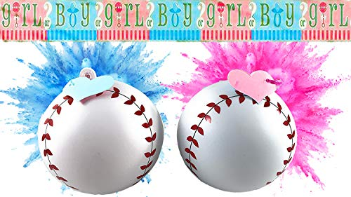 Brees Party Productions Gender Reveal Baseballs | Two 1 Pink and 1 Blue | Bonus Large 12 Foot Boy or Girl -