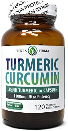 Terra Firma Turmeric Curcumin 1100mg Plus Bioperine, Non-GMO and Stearate Free, Daily Joint Support Healthy Inflammatory Response – 120 Vegetarian Liquid Capsules in Glass Bottle