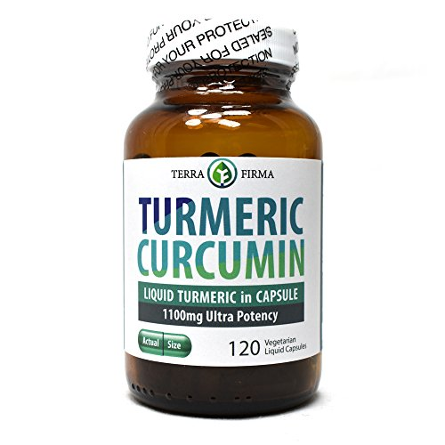 Terra Firma Turmeric Curcumin 1100mg Plus Bioperine Non-GMO and Stearate Free - 120 Vegetarian Liquid Capsules