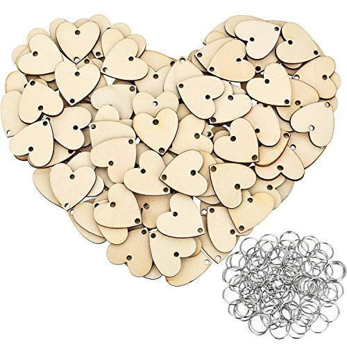 Bememo 100 Pieces Heart Shaped Wooden Discs Wood Tags with 2 Holes and 100 Pieces Rings for Birthday Board Calendar DIY Crafts (Size 1)