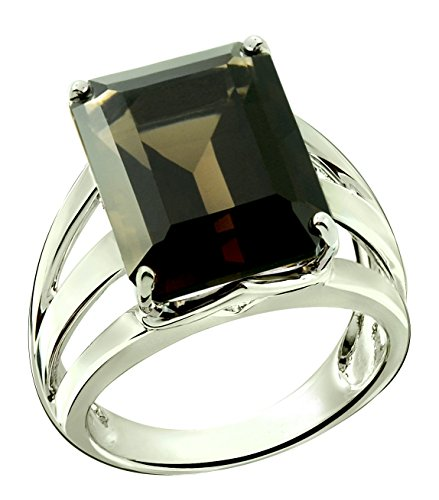 RB Gems Sterling Silver 925 STATEMENT Ring GENUINE GEMSTONE Octagon 16x12 mm with Rhodium-Plated Finish (11, smoky-quartz)