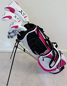 Ladies RH Complete Golf Club Set Driver, Fairway Wood, Hybrid, Irons, Putter, Stand Bag Womens Right Handed White and Pink Colors by Performance Golf