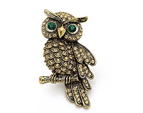 [Classic Gold Owl Pin Brooch Suit Accessory] (Peacock Spider Costume)
