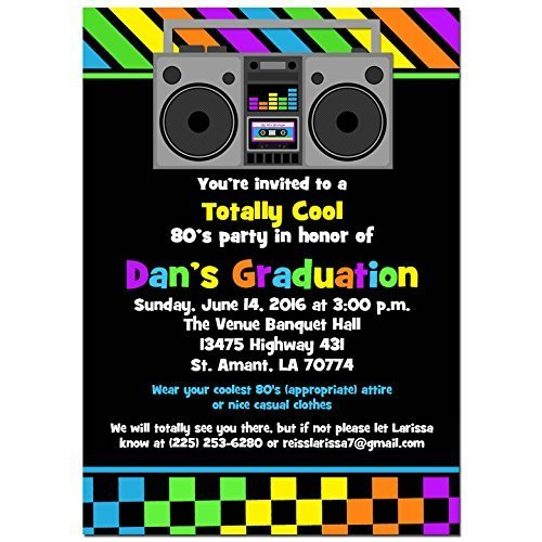 amazon com 80 s party invitations with any wording printed or