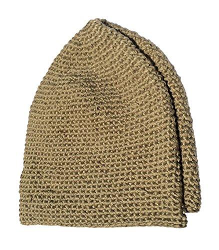 Hand-Crocheted Cotton Khaki Brown Head Cover Skull Cap Prayer Cap Kufi for Salat