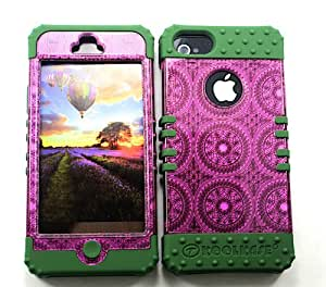 CellTx Shockproof Hybrid Case For Apple (iphone 5, 5S) and Stylus Pen, Dark Green Soft Rubber Skin with Hard Cover (Circles, Pattern, Hot Pink) AT&T, T-Mobile, Sprint, Verizon, Cricket, Virgin Mobile, Boost Mobile by runtopwell