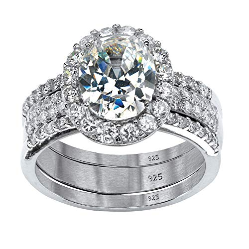 Oval-Cut White Cubic Zirconia Platinum over .925 Sterling Silver Halo Bridal Ring Set Size 6