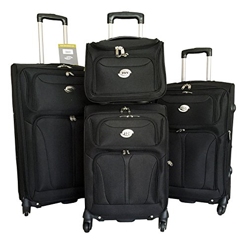 4pc Luggage Set Suitcase Travel Bag Rolling 4wheel Carryon Expandable Black by Trendy Flyer