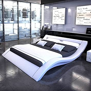 LED Design Bed Dina, white, 160_x_200_cm: Amazon.co.uk: Kitchen & Home