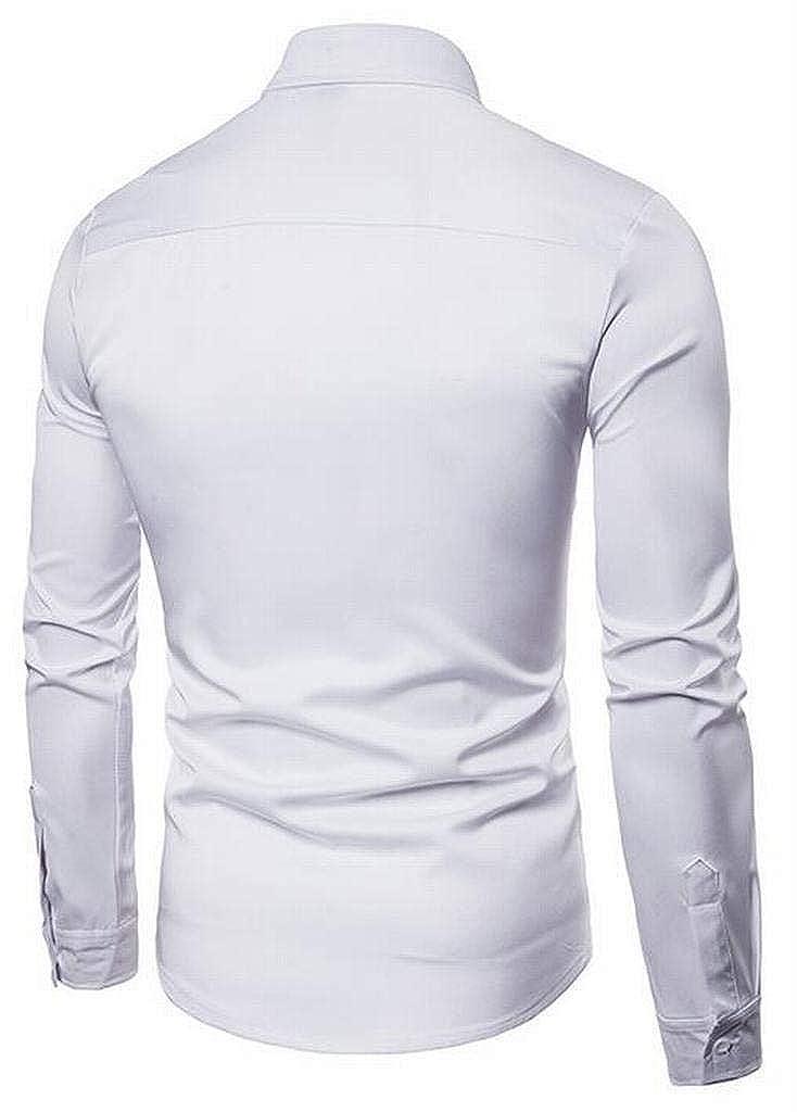 XiaoTianXinMen XTX Mens Hollow Out Solid Long Sleeve Button Down Casual Business Dress Shirts