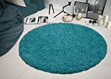 Ottomanson SHG2766-ROUND Shag Collection Area Rug, 5'3' Round, Turquoise