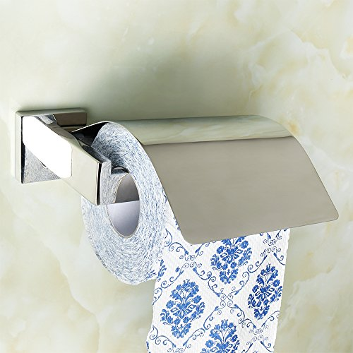 Alise Toilet Paper Holder with Cover Bathroom Paper Towel Hanger Storage Wall Mount,SUS 304 Stainless Steel Polished Chrome Finish