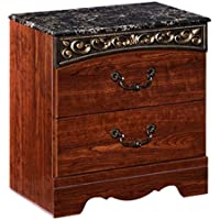 Ashley Furniture Signature Design - Fairbrooks Estate Nightstand - 2 Drawers - Engineered Wood - Traditional - Reddish Brown