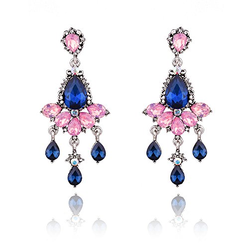 YSJOY Womens Girls Beautifully Crafted Rhinestone Crystal Multi Drop Tassel Earrings Chandelier Earrings Pink (Chandelier Shape Multi Earrings)