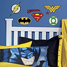 RoomMates RMK2749SCS DC Superhero Logos Peel and Stick Wall Decals, 16 Count