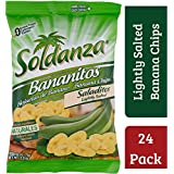 Soldanza Banana Chips 2.5 Ounce (Pack of 24), 100% Natural, Gluten Free Banana Chips, Cholesterol Free, No Trans Fat, Natural Snack, Lightly Salted Crispy Banana Chips