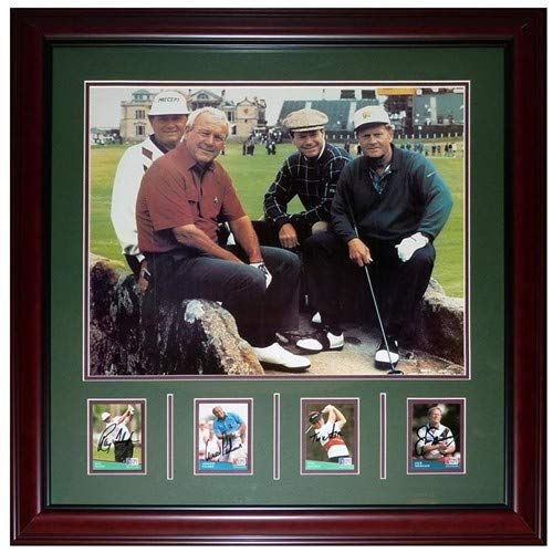 Jack Nicklaus, Ray Floyd, Arnold Palmer, Tom Watson St. Andrews Bridge Deluxe Framed Autographed Signed Auto Card Piece with 16 20 Photograph - Certified Authentic