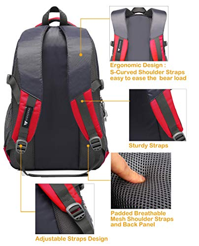 School Backpack BookBag For College Travel Hiking Fit Laptop Up to 15.6 Inch Water Resistant (Red) by ProEtrade (Image #2)