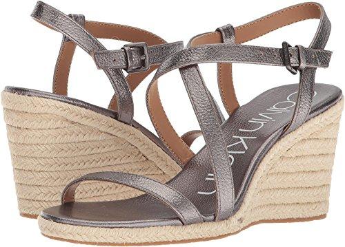 Calvin Klein Women's Bellemine Espadrille Wedge Sandal, Anthracite, 6 Medium (Klein Womens Wedge Shoes)