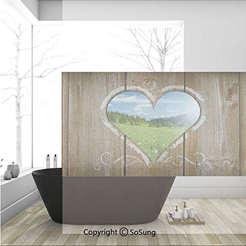 3D Decorative Privacy Window Films,Heart Window View from Wooden Rustic Farm Barn Shed with Chalk Art Image,No-Glue Self Static Cling Glass Film for Home Bedroom Bathroom Kitchen Office 36x24 -