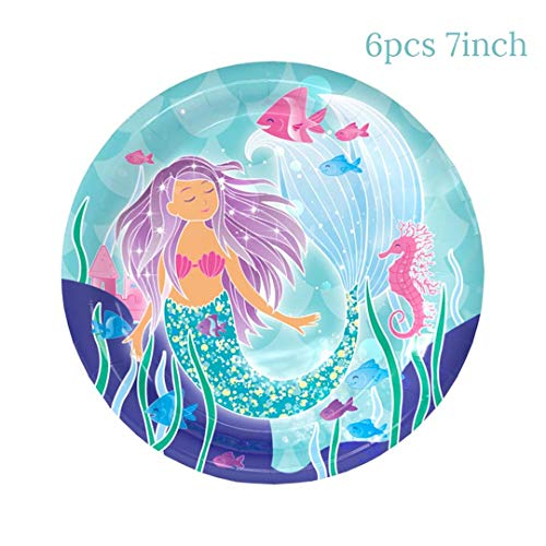 Girl Birthday Party Disposable Tableware Set Mermaid Party Balloon Plates Cups Banner Boy Girl Party Wedding Decoration Supplies 6Pcs 7Inch Plates]()