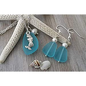 world-of-handmade-turquoise-sea-glass-necklace-earrings-set