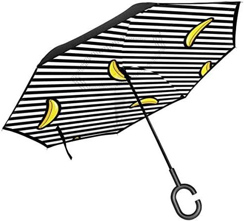 バナナ ユニセックス二重層防水ストレート傘車逆折りたたみ傘C形ハンドル付き