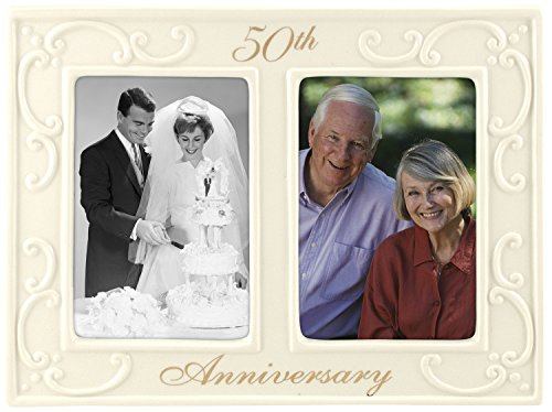 Malden International Designs 50th Anniversary Ceramic Milestones Picture Frame with Two Openings, 3-1/2-Inch by 5-Inch