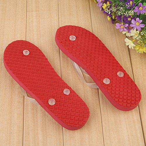Domybest Coole Frauen Männer Luminous Schuhe Sandalen Strand Thong Hausschuhe Flip Flops Rot