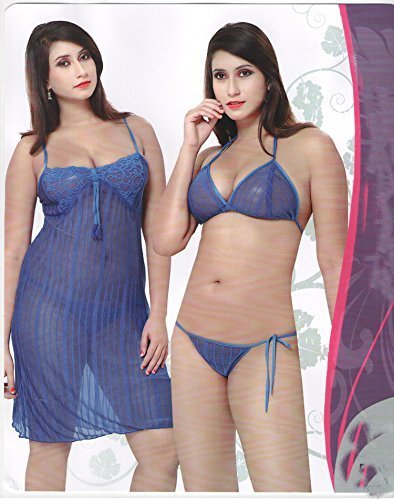 Odishabazaar Sexy Transparent 3 Pc Lingerie Top + G String Baby Doll Sleep  Wear Gown Nighty(Blue Free Size)  Amazon.in  Clothing   Accessories bc49656b3