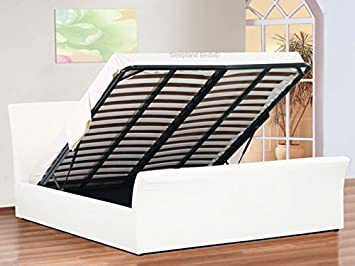 Swell 4Ft Small Double White Faux Leather Ottoman Sleigh Bed With Bralicious Painted Fabric Chair Ideas Braliciousco