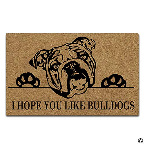 Artswow Funny Door Mat Entrance Floor Mat I Hope You Like Bulldogs Designed Decorative Indoor Outdoor Doormat Enterways Non-Slip Rubber Backing Mat 30
