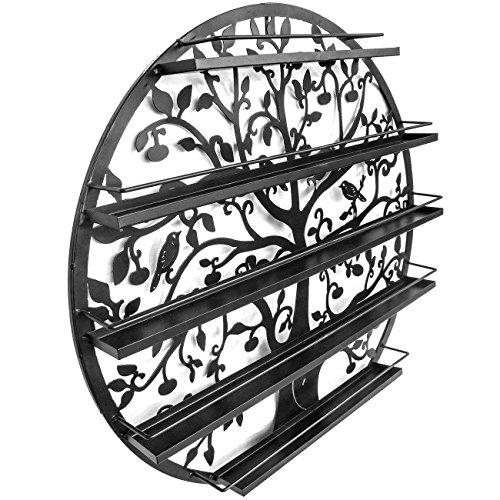 Lantusi Wall Mounted 5 Tier Nail Polish Rack Holder, Tree Silhouette Black Round Metal Nail Polish Storage Organizer Display, Great for Home, Business, Salon, Spa, and More (US STOCK) (Tree) by Lantusi (Image #6)