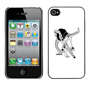Colorful Printed Hard Protective Back Case Cover Shell Skin for Apple iPhone 4 / iPhone 4S / 4S ( Dance Man Woman Caricature Funny Art )
