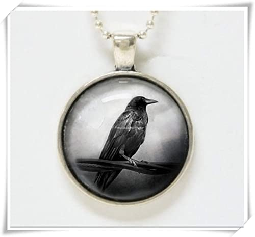 Men/'s Silver Raven Crow Stainless Steel Gothic Pendant Chain Necklace Set