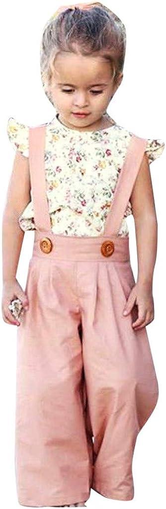 Pantaloni Set Daoope Vestiti per Neonati Estate 0-3 Mesi Bambini Ragazze Tute Neonati Vestiti Completo 2 Pezzi Set Estate Bambini Senza Maniche Sminuzzato Fiore Top
