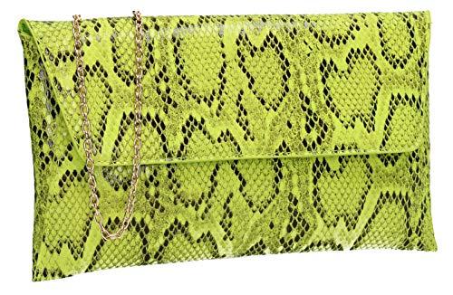 (SWANKYSWANS Karla Faux Snakeskin Print Clutch Bag Neon Green)