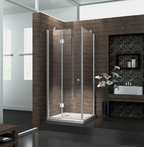 Duschkabine 8 mm Duschabtrennung Dusche Echt Glas 90 x 90 x 195 cm NOVUM ohne Duschtasse